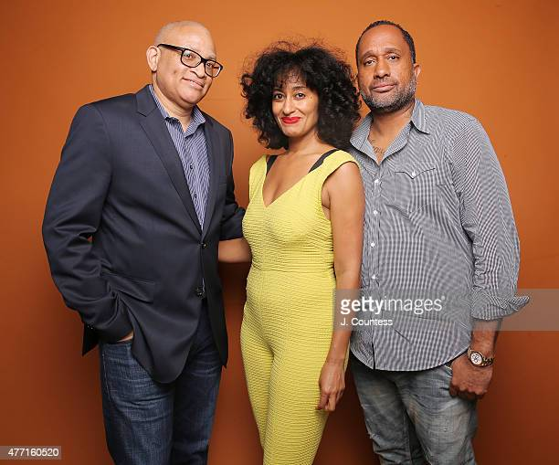 Larry Wilmore actress Tracee Ellis Ross and writer Kenya Barris attend the 2015 American Black Film Festival at the New York Hilton on June 14 2015...