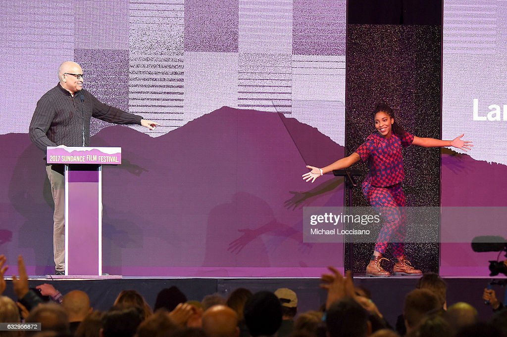 Larry Wilmore and Jessica Williams onstage during the 2017 Sundance Film Festival Awards Night Ceremony at Basin Recreation Field House on January 28, 2017 in Park City, Utah.