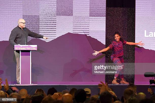 Larry Wilmore and Jessica Williams onstage during the 2017 Sundance Film Festival Awards Night Ceremony at Basin Recreation Field House on January 28...