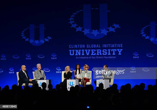 Larry Wilmore Former US President Bill Clinton Maria Alekhina and Nadezhda Tolokonnikova of Pussy Riot and Paul Farmer attend Clinton Global...