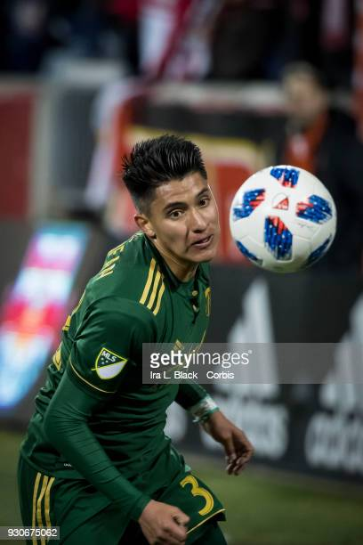Larrys Mabiala of Portland Timbers eyes the ball to keep control during the MLS match between New York Red Bulls and Portland Timbers at Red Bull...