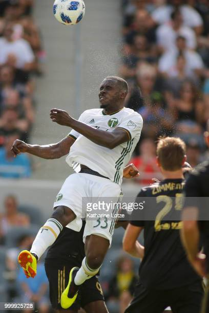 Larrys Mabiala of the Portland Timbers heads the ball at Banc of California Stadium on July 15 2018 in Los Angeles California