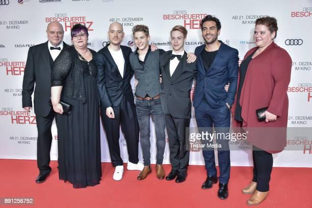 Lars Amend Philip Noah Schwarz Daniel Mayer Elyas MBarek and Nadine Wrietz during the 'Dieses bescheuerte Herz' premiere on December 12 2017 in...