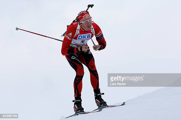 Lars Barger of Norway during the Men's 125 km Pursuit in the IBU Biathlon World Cup on December 12 2009 in Hochfilzen Austria