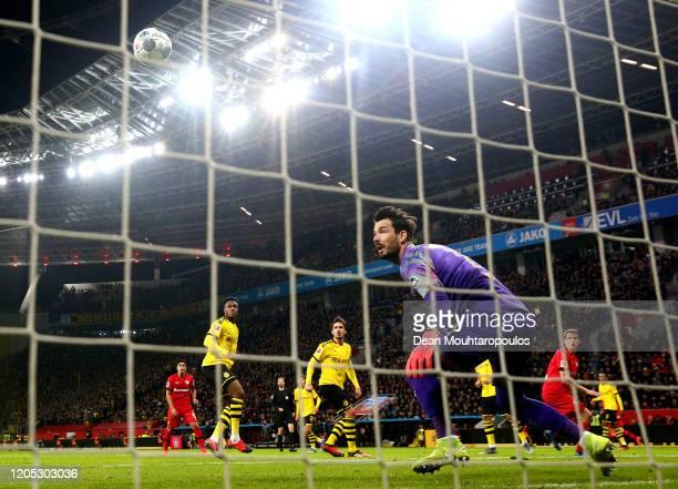 Lars Bender of Bayer 04 Leverkusen scores his teams fourth goal with a header past Goalkeeper, Roman Burki of Borussia Dortmund during the Bundesliga...