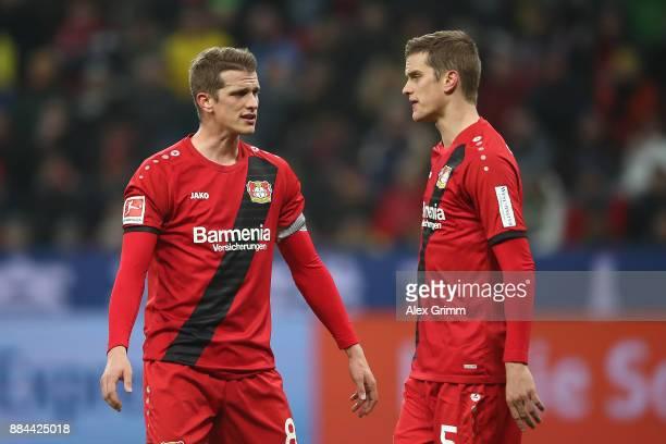 Lars Bender of Bayer Leverkusen and his brother Sven Bender of Bayer Leverkusen during the Bundesliga match between Bayer 04 Leverkusen and Borussia...