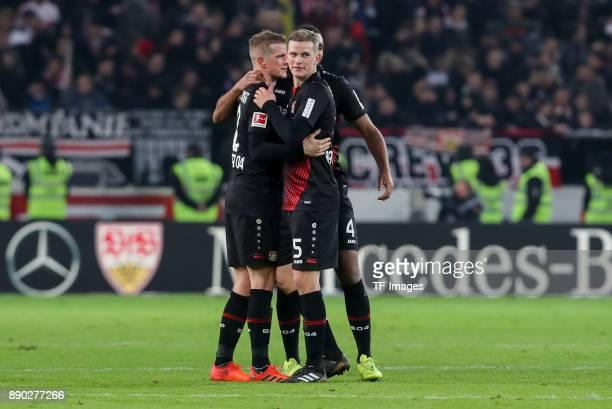 Lars Bender of Bayer Leverkusen Sven Bender of Bayer Leverkusen and Jonathan Tah of Bayer Leverkusen celebrate after winning the Bundesliga match...
