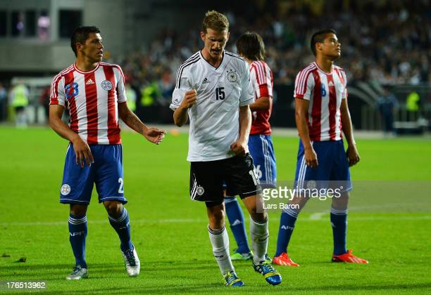 Lars Bender of Germany celebrates after scoring his teams third goal during the international friendly match between Germany and Paraguay at...