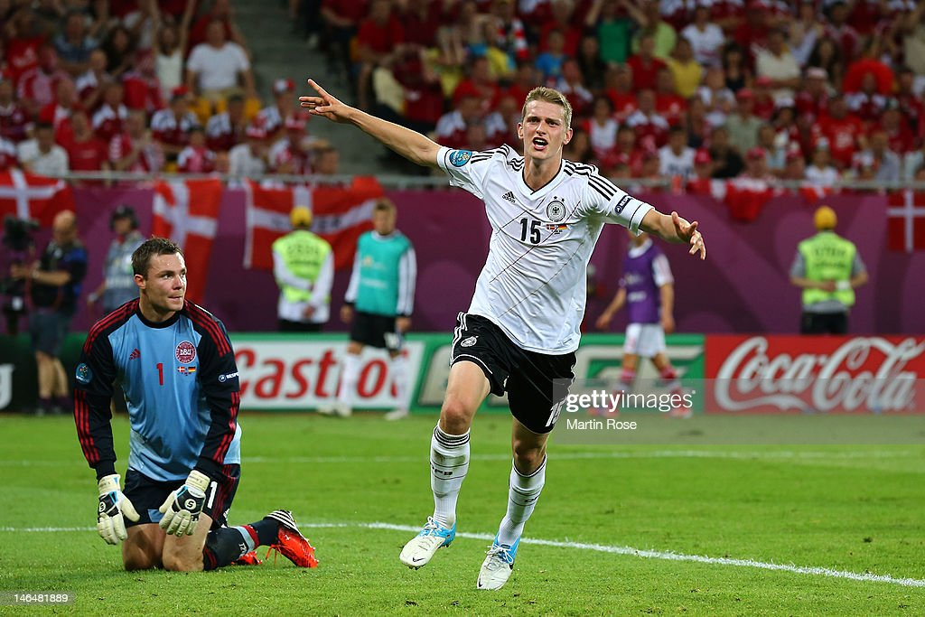 L'VIV, UKRAINE - JUNE 17: Lars Bender of Germany celebrates scoring their second goal during the UEFA EURO 2012 group B match between Denmark and Germany at Arena Lviv on June 17, 2012 in L'viv, Ukraine.