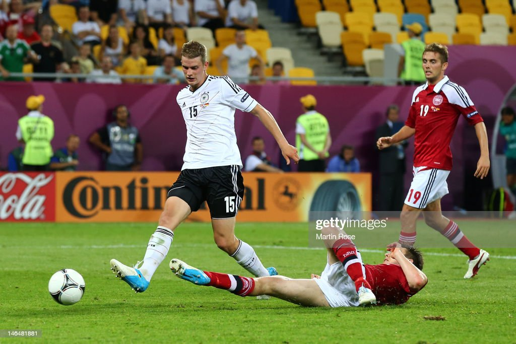 L'VIV, UKRAINE - JUNE 17: Lars Bender of Germany scores their second goal during the UEFA EURO 2012 group B match between Denmark and Germany at Arena Lviv on June 17, 2012 in L'viv, Ukraine.