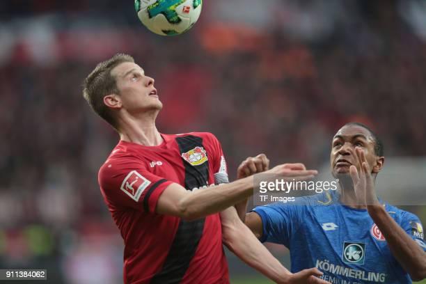 Lars Bender of Leverkusen and Abdou Diallo of Mainz battle for the ball during the Bundesliga match between Bayer 04 Leverkusen and 1 FSV Mainz 05 at...