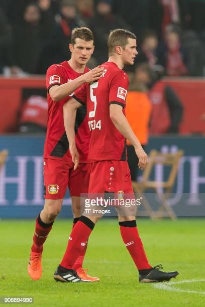 Lars Bender of Leverkusen and Sven Bender of Leverkusen look dejected after the Bundesliga match between Bayer 04 Leverkusen and FC Bayern Muenchen...