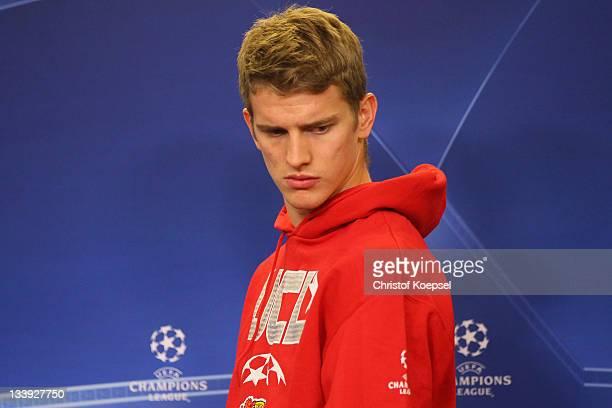 Lars Bender of Leverkusen attends the Bayer Leverkusen press conference at BayArena on November 22, 2011 in Leverkusen, Germany.