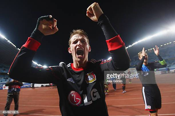 Lars Bender of Leverkusen celebrates after the UEFA Champions League Group A match between Real Sociedad de Futbol and Bayer Leverkusen at Estadio...