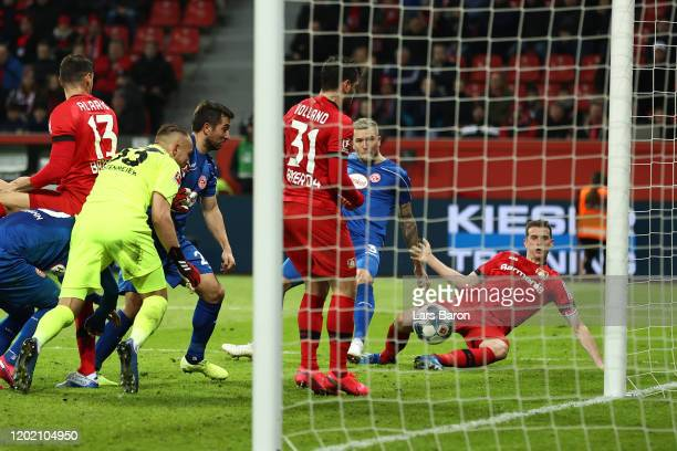 Lars Bender of Leverkusen scores his team's second goal during the Bundesliga match between Bayer 04 Leverkusen and Fortuna Duesseldorf at BayArena...