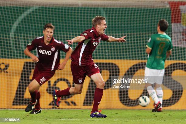 Lars Bender of Offenbach celebrates his team's second goal during the first round match of the DFB Cup between Offenbacher Kickers and Greuther Fürth...