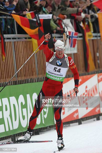 Lars Berger of Norway celebrates after the men's sprint during the EON IBU World Cup Biathlon on January 14 2011 in Ruhpolding Germany