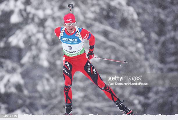 Lars Berger of Norway competes during the Men's 10km Sprint in the eon Ruhrgas IBU Biathlon World Cup on December 19 2009 in Pokljuka Slovenia