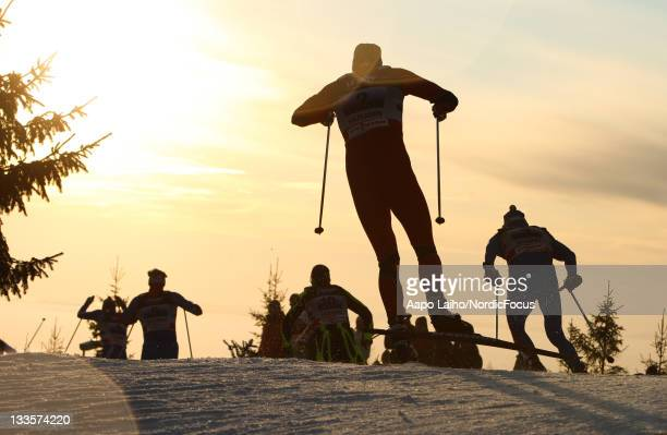 Lars Berger of Norway competes in the men's 4x10km Cross Country Skiing Relay during the FIS World Cup on November 20 in Sjusjoen Norway