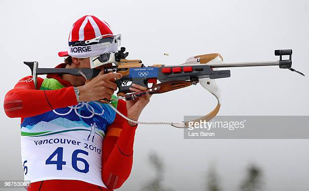 Lars Berger of Norway competes in the men's biathlon 125 km pursuit zeroing on day 5 of the 2010 Vancouver Winter Olympics at Whistler Olympic Park...