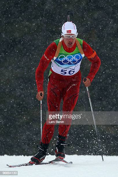 Lars Berger of Norway during the Biathlon Men's 10 km Sprint on day 3 of the 2010 Winter Olympics at Whistler Olympic Park Biathlon Stadium on...