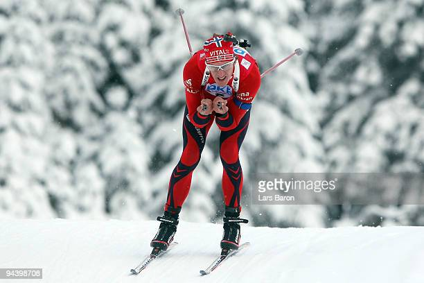 Lars Berger of Norway during the Men's 125 km Pursuit in the IBU Biathlon World Cup on December 12 2009 in Hochfilzen Austria