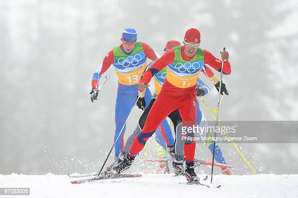 Lars Berger of Norway during the Men's Cross Country Skiing 4x10km Relay on Day 13 of the 2010 Vancouver Winter Olympic Games on February 24 2010 in...