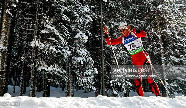 Lars Berger of Norway in action during the IBU World Cup Biathlon Men's 10 km Sprint on December 18 2010 in Pokljuka Slovenia
