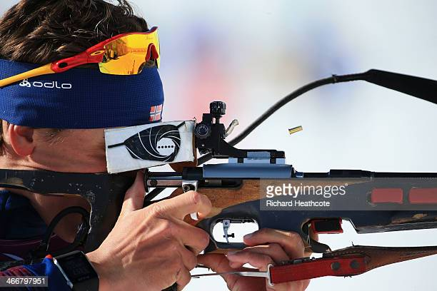 Lars Berger of Norway practices ahead of the Sochi 2014 Winter Olympics at the Laura CrossCountry Ski and Biathlon Center on February 4 2014 in Sochi...