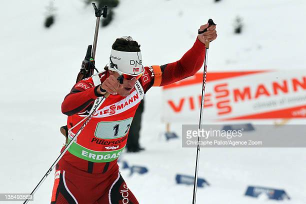 Lars Berger of Norway takes 1st place during the IBU Biathlon World Cup MenÕs Relay on December 11 2011 in Hochfilzen Austria