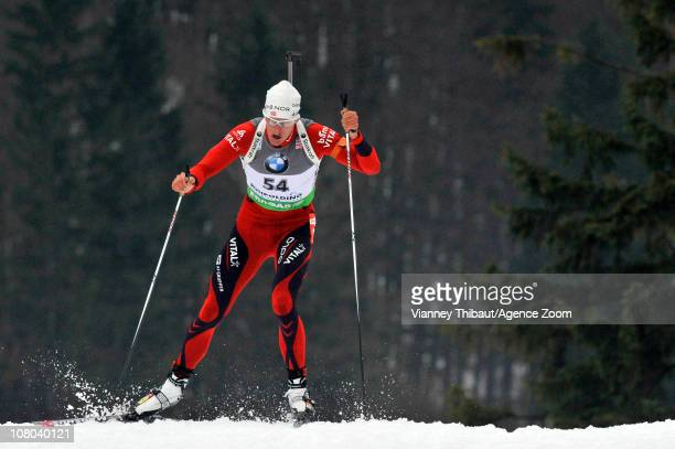 Lars Berger of Norway takes 1st place during the IBU World Cup Biathlon Men's 10 km Sprint on January 14 2011 in Ruhpolding Germany