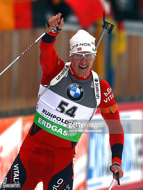 Lars Berger of Norway wins the men's 10 km sprint event during the eon IBU Biathlon World Cup at the Chiemgau Arena on January 14 2011 in Ruhpolding...
