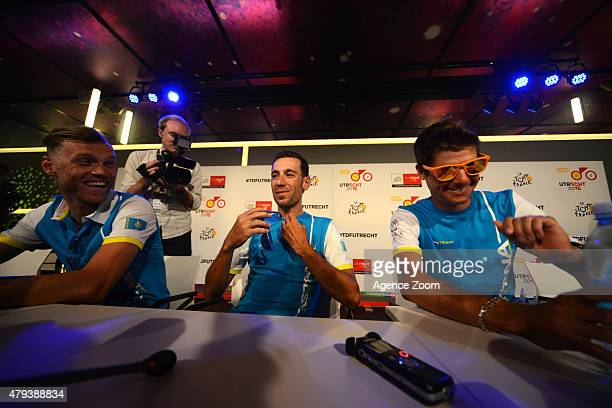 Lars Boom of Astana Pro Team Vincenzo Nibali of Astana Pro Team Jakob Fuglsang of Astana Pro Team during previews of the Tour de France on Friday 03...