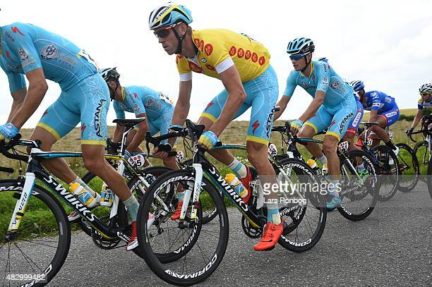 Lars Boom of Team Astana in the leaders yellow jersey followed by team mate Jakob Fuglsang during stage 2 of the 2015 Tour of Denmark a 235km stage...