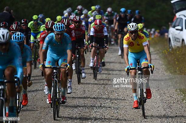 Lars Boom of Team Astana in the leaders yellow jersey riding on the paves during stage 2 of the 2015 Tour of Denmark a 235km stage from Ringkobing to...