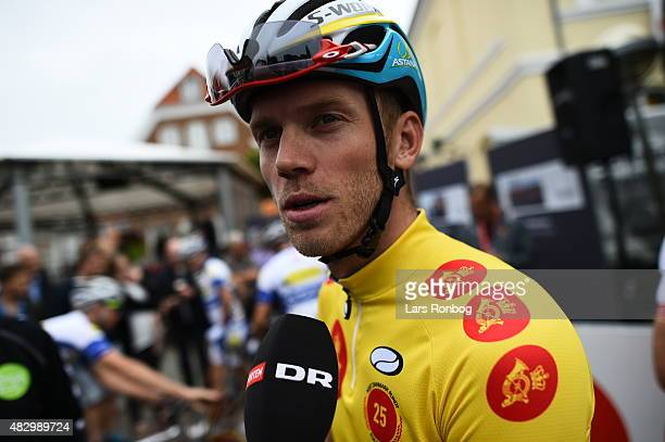Lars Boom of Team Astana in the leaders yellow jersey speaks to the media prior to stage 2 of the 2015 Tour of Denmark a 235km stage from Ringkobing...