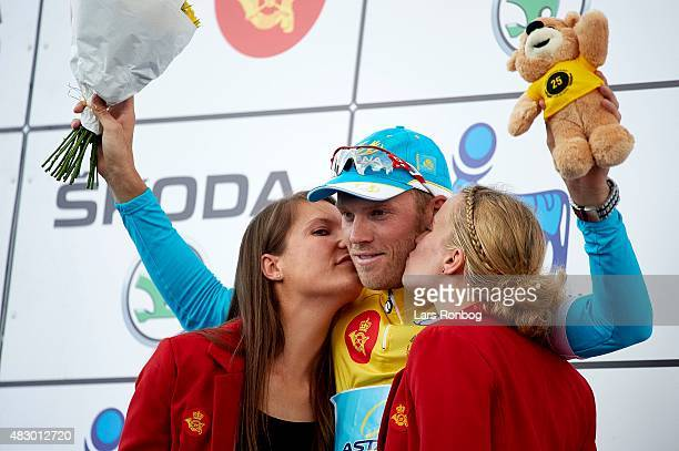 Lars Boom of Team Astana on the podium in the leaders yellow jersey after stage 2 of the 2015 Tour of Denmark a 235km stage from Ringkobing to Aarhus...