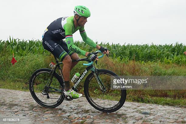 Lars Boom of the Netherlands and Belkin in action during the fifth stage of the 2014 Tour de France a 155km stage between Ypres and Arenberg Porte du...