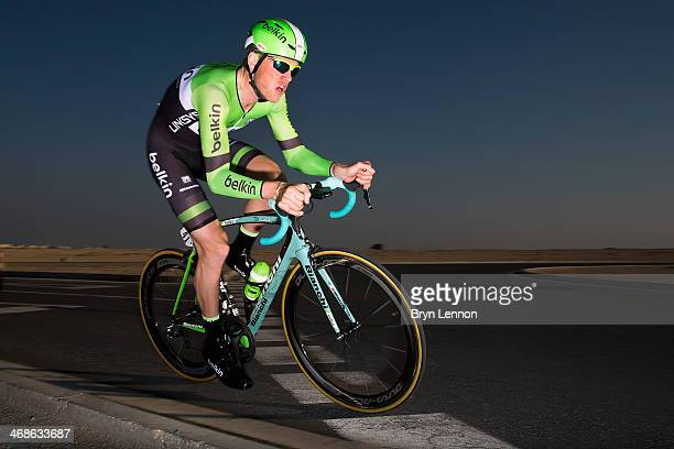 Lars Boom of the Netherlands and Belkin Pro Cycling in action during stage three of the Tour of Qatar a 109km individual time trial at the Lusail...