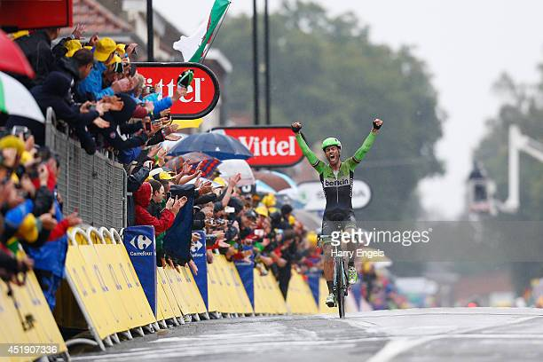 Lars Boom of the Netherlands and team Belkin Pro Cycling celebrates winning the fifth stage of the 2014 Tour de France a 155km stage between Ypres...