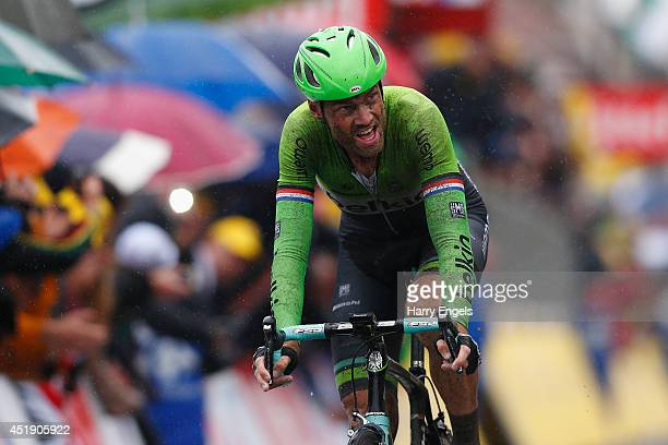 Lars Boom of the Netherlands and team Belkin Pro Cycling crosses the line to win the fifth stage of the 2014 Tour de France a 155km stage between...