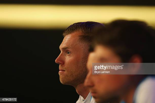 Lars Boom of the Netherlands and the Astana Pro Team talks to the media during a press conference ahead of the 2015 Tour de France on July 3 2015 in...