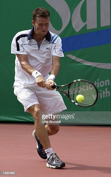 Lars Burgsmuller of Germany plays a backhand during his straight sets defeat against Marat Safin of Russia during the first round of the Salem Open...