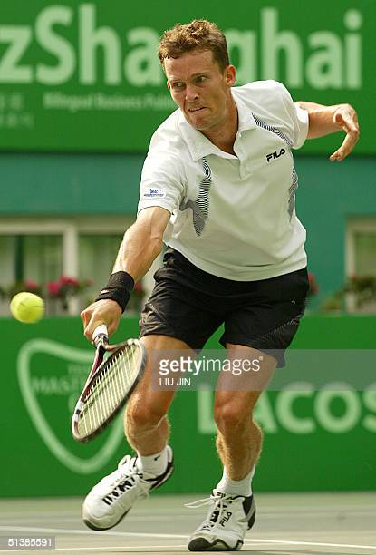 Lars Burgsmuller of Germany returns a ball during the final match against Guillermo Canas of Argentina at the ATP Shanghai Open 03 October 2004 Canas...