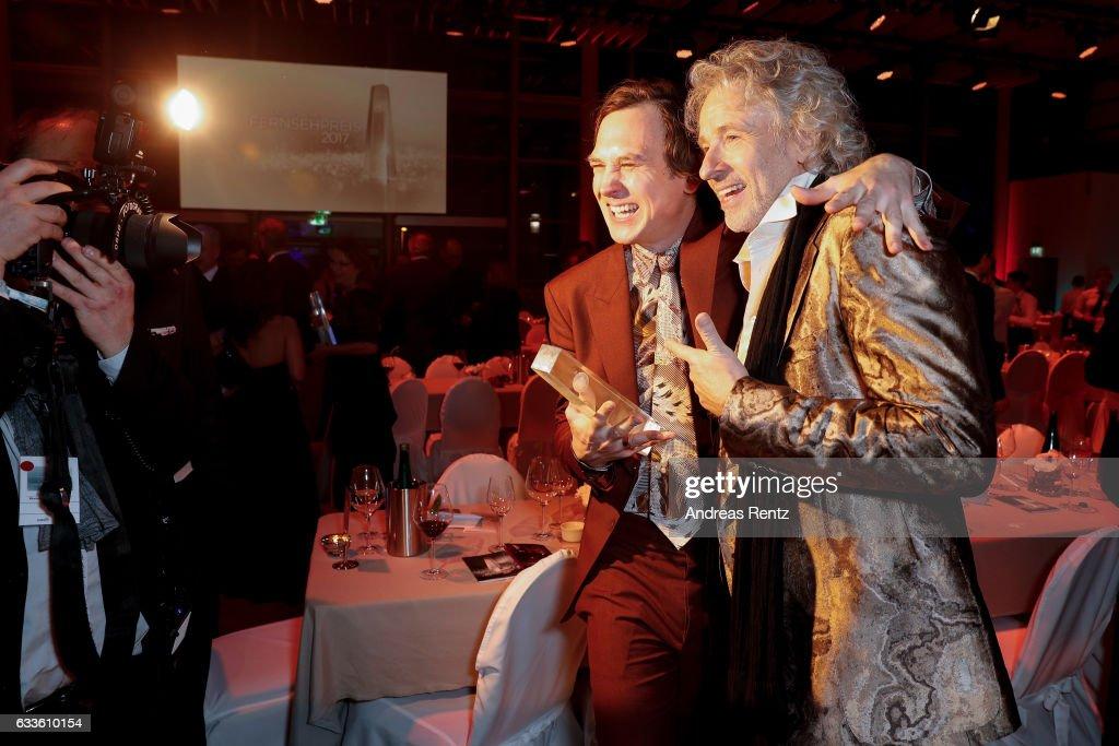 Lars Eidinger and Thomas Gottschalk attend the German Television Award (Deutscher Fernsehpreis 2017) at Rheinterrasse on February 2, 2017 in Duesseldorf, Germany.
