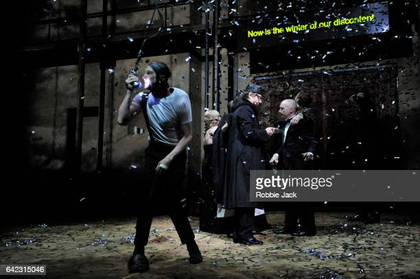 Lars Eidinger as Richard III with artists of the company in Schaubuhne Berlin's production of William Shakespeare's Richard III directed by Thomas...