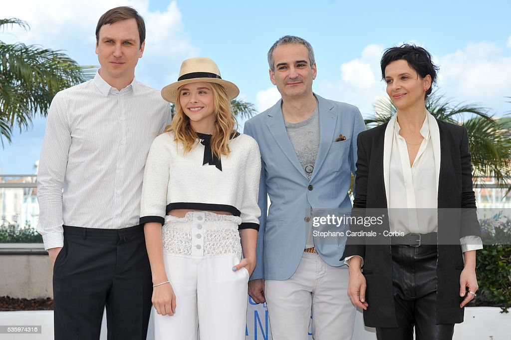 Lars Eidinger, Chloe Grace Moretz, Olivier Assayas and Juliette Binoche attend the 'Clouds Of Sils Maria' photocall during the 67th Cannes Film Festival