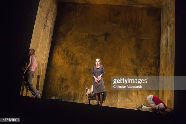 Lars Eidinger Judith Engel and Franz Hartwig perform on stage during rehearsals for 'Tartuffe' at Schaubuehne Berlin on December 17 2013 in Berlin...