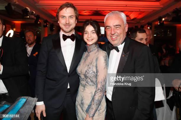 Lars Eidinger LisaMarie Koroll and HansReiner Schroeder during the German Film Ball 2018 at Hotel Bayerischer Hof on January 20 2018 in Munich Germany