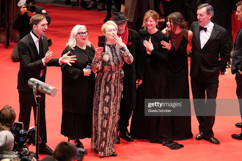 Lars Eidinger,Brigitte Lacombe,Meryl Streep,Dieter Kosslic,Alba Rohrwacher,Malgorzata Szumowska and Nick James attend the 'Hail, Caesar!' premiere during the 66th Berlinale International Film Festival Berlin at Berlinale Palace on February 11, 2016 in Berlin, Germany.